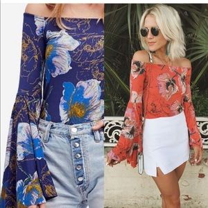 Free People Floral Bell Sleeve Blouse
